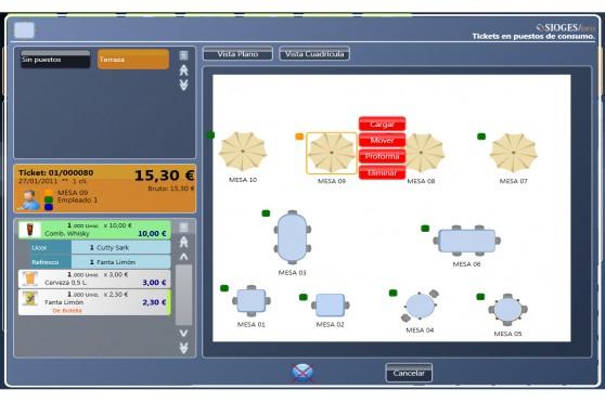 Plano de mesas con previsualización de consumos Software Sioges